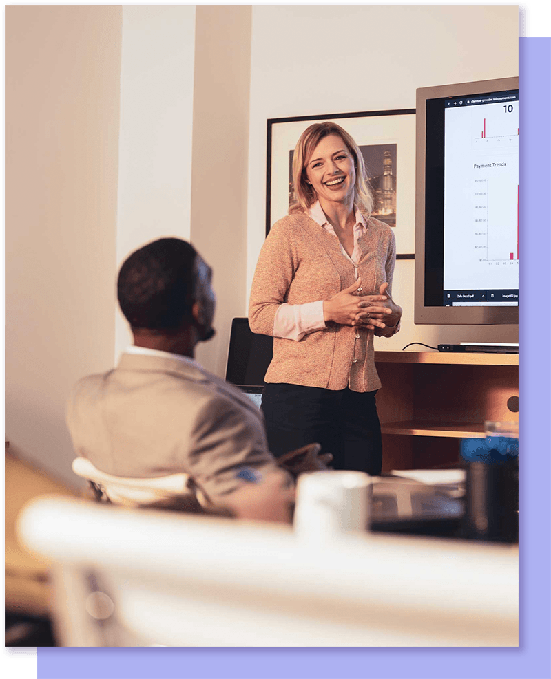 Woman presenting to group
